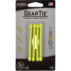 "Набор хомутов Nite Ize Gear Tie 3"" 4pk Neon Yellow"