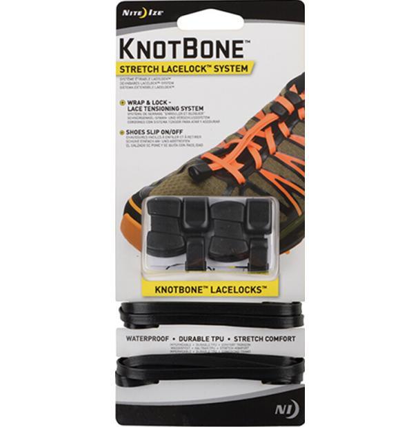Шнурки с фиксатором Nite Ize KnotBone Stretch LaceLock System Black