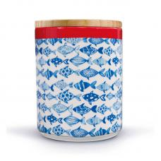 Банка фарфоровая с бамбуковой крышкой Remember Fish