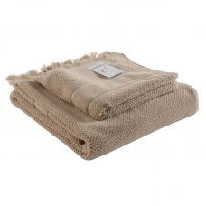 Банное полотенце Tkano с бахромой бежевое Essential 70х140