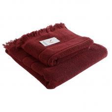 Банное полотенце Tkano с бахромой бордовое Essential 70х140