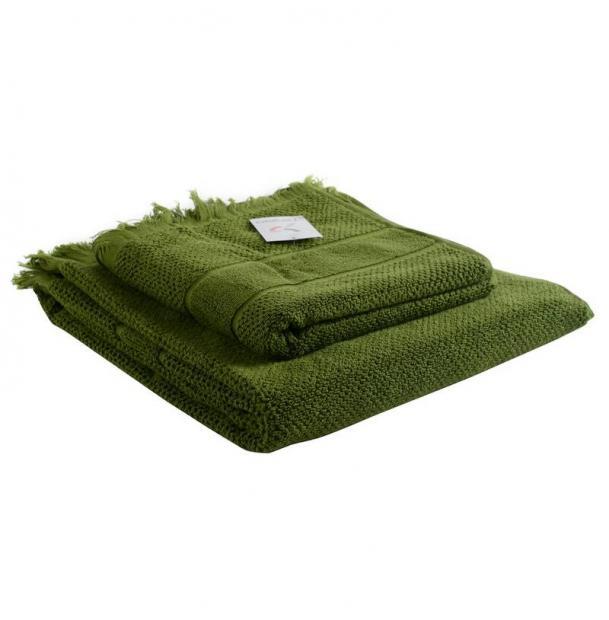 Банное полотенце Tkano с бахромой оливково-зеленое Essential 70х140