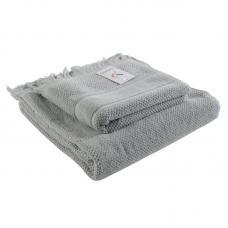 Банное полотенце Tkano с бахромой серое Essential 70х140