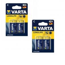 Батарейка Varta LONGLIFE LR14 C BL4 Alkaline 1.5V 4114-2-n