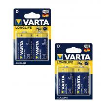 Батарейка Varta LONGLIFE LR20 D BL4 Alkaline 1.5V (4120) 04120-2-n