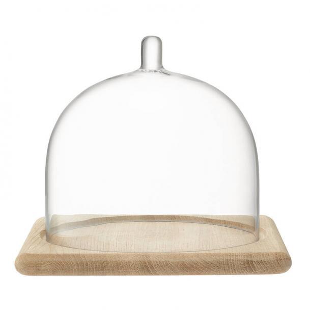 Блюдо со стеклянным куполом LSA International Serve 205 х 25 см дуб
