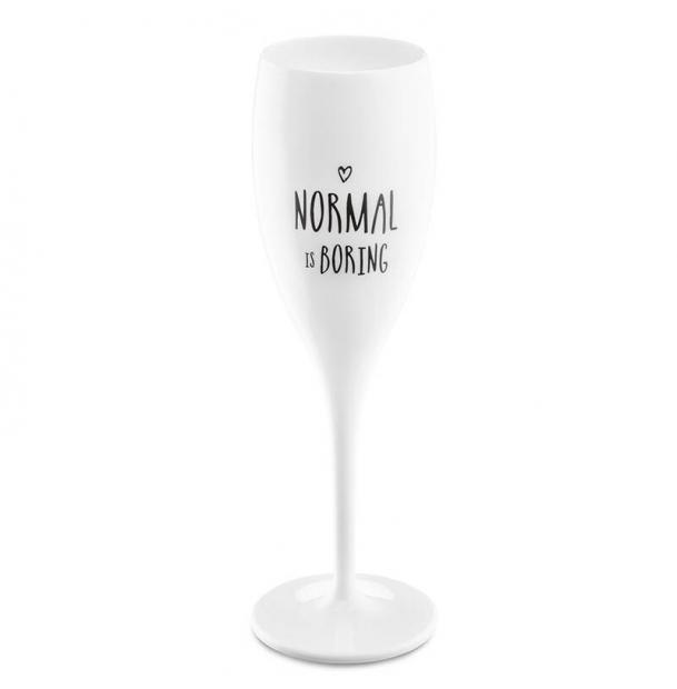 Бокал для шампанского Koziol с надписью Normal is Boring белый