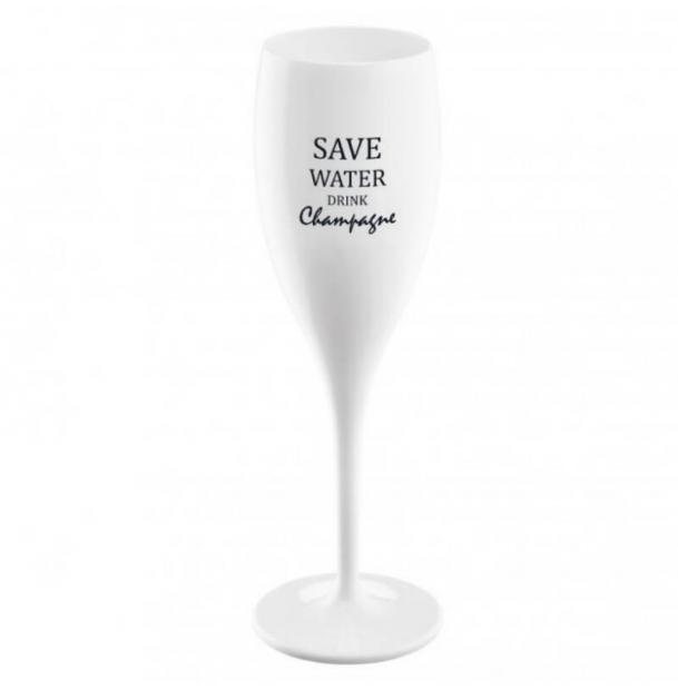 Бокал для шампанского Koziol с надписью Save Water Drink Champagne белый