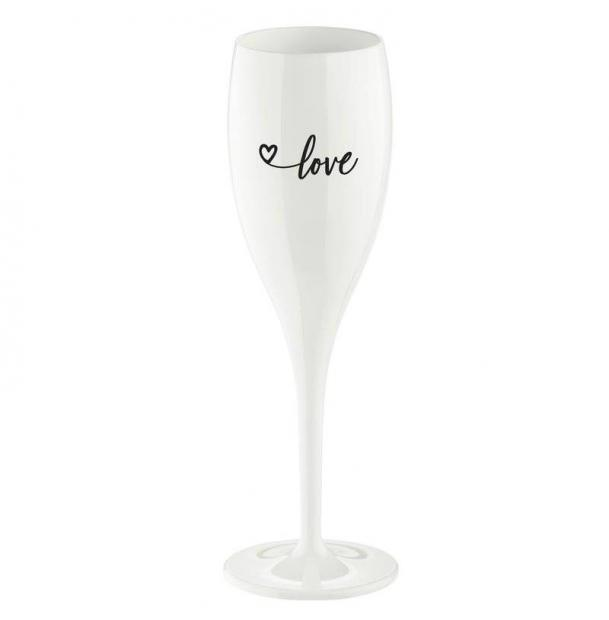 Бокал для шампанского с надписью Koziol Love 2.0 белый