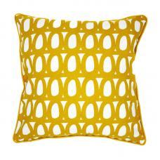 Чехол для подушки с принтом Tkano Twirl и декоративной окантовкой горчичный Cuts&Pieces 45х45