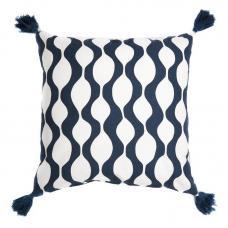 Чехол для подушки Tkano с кисточками Traffic серо-синий Cuts&Pieces 45х45