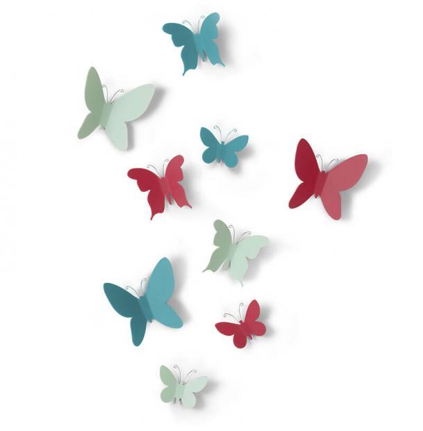Декор Для Стен Umbra Mariposa 9 Элементов Разноцветный