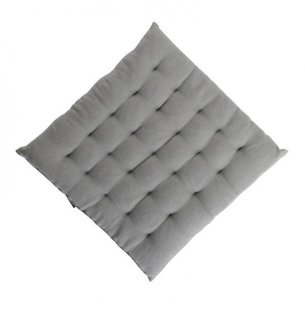 Декоративная подушка на стул Tkano из умягченного льна серая Essential 40х40х4