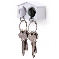 Держатель брелок для ключей двойной Qualy Mini Sparrow белый-черный