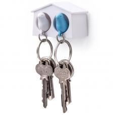 Держатель брелок для ключей двойной Qualy Mini Sparrow белый-голубой