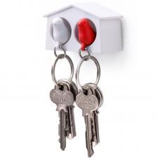 Держатель брелок для ключей двойной Qualy Mini Sparrow белый-красный