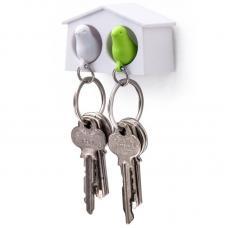 Держатель брелок для ключей двойной Qualy Mini Sparrow белый-зеленый