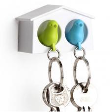 Держатель брелок для ключей двойной Qualy Mini Sparrow зеленый-голубой