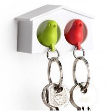 Держатель брелок для ключей двойной Qualy Mini Sparrow зеленый-красный