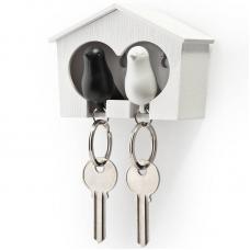 Держатель брелок для ключей двойной Qualy Sparrow белый-черный