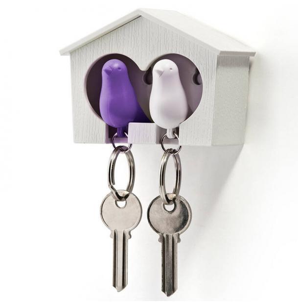 Держатель брелок для ключей двойной Qualy Sparrow белый-фиолетовый
