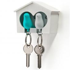 Держатель брелок для ключей двойной Qualy Sparrow белый-голубой
