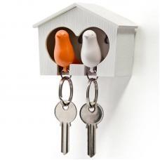 Держатель брелок для ключей двойной Qualy Sparrow белый-оранж