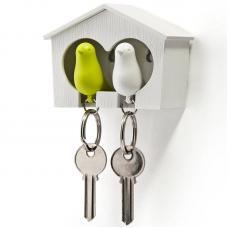Держатель брелок для ключей двойной Qualy Sparrow белый-зеленый
