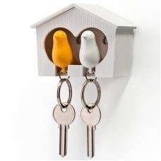 Держатель брелок для ключей двойной Qualy Sparrow белый-желтый
