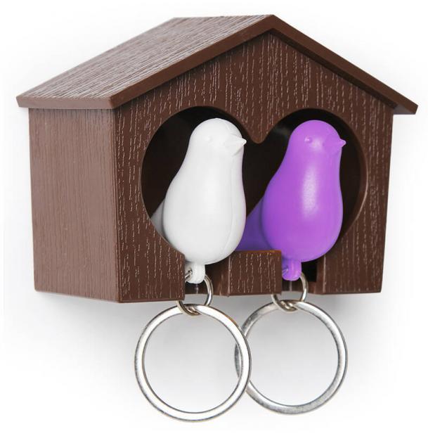 Держатель брелок для ключей двойной Qualy Sparrow коричневый-белый-фиолетовый