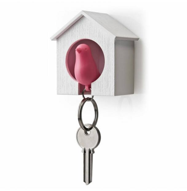Держатель брелок для ключей Qualy Sparrow белый-розовый