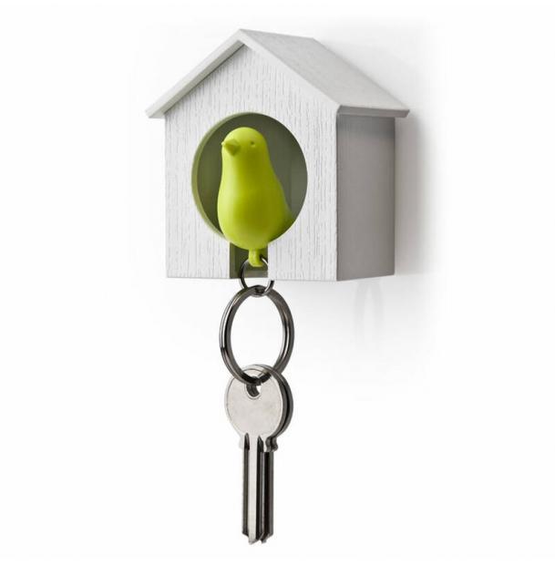 Держатель брелок для ключей Qualy Sparrow белый-зеленый