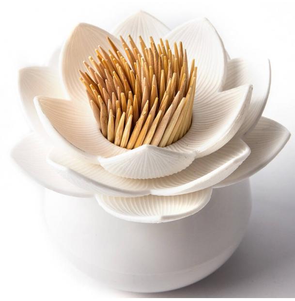 Держатель для зубочисток Qualy Lotus белый