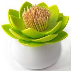 Держатель для зубочисток Qualy Lotus белый-зеленый