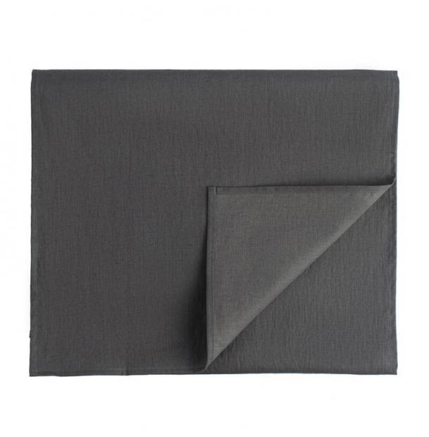 Дорожка на стол Tkano из умягченного льна с декоративной обработкой темно-серая Essential 45х150