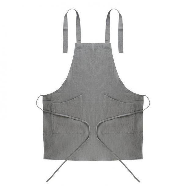 Фартук Tkano из умягченного льна серый Essential 70х82