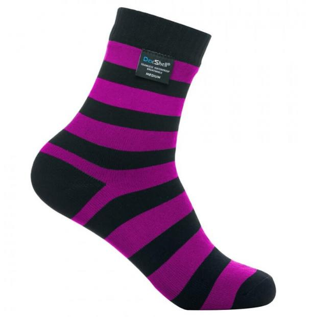Носки водонепроницаемые Dexshell Waterproof Ultralite Bamboo Socks Black Pink Stripe S