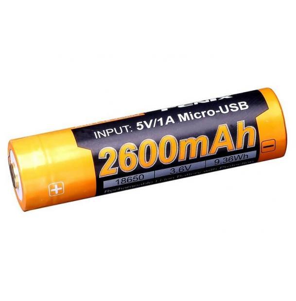 Аккумулятор Fenix ARB-L18-2600U Li-ion 18650 2600 mAh w/ biult-in microUSB