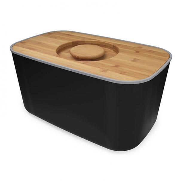 Хлебница Joseph Joseph Steel Bread Bin Black с разделочной доской из бамбука