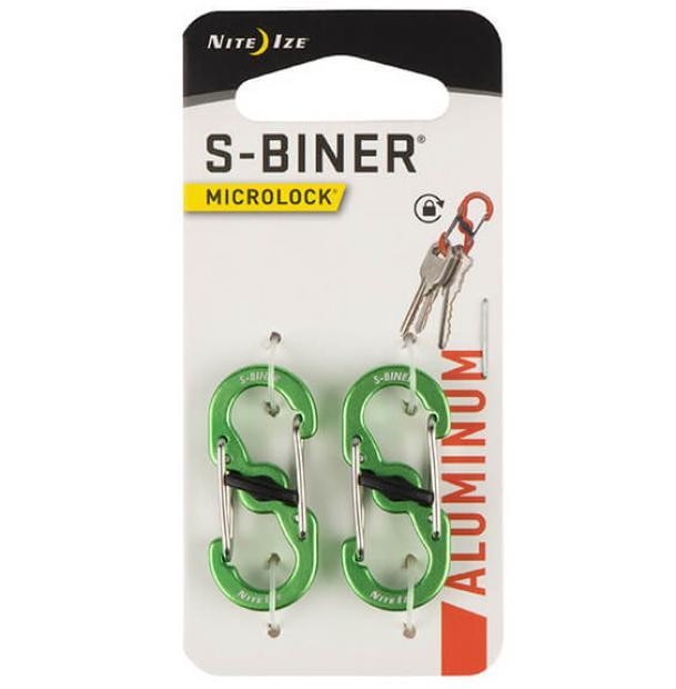Карабин Nite Ize S-Biner MicroLock Aluminum 2pcs Lime