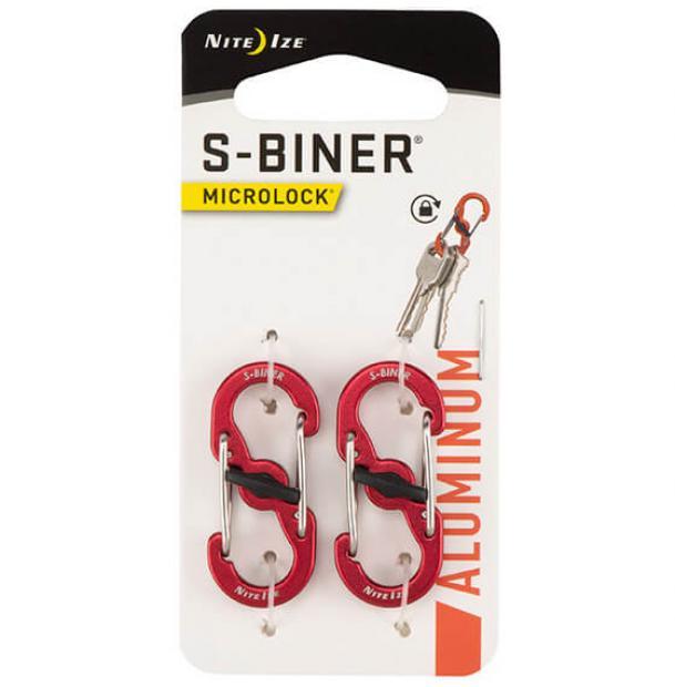 Карабин Nite Ize S-Biner MicroLock Aluminum 2pcs Red
