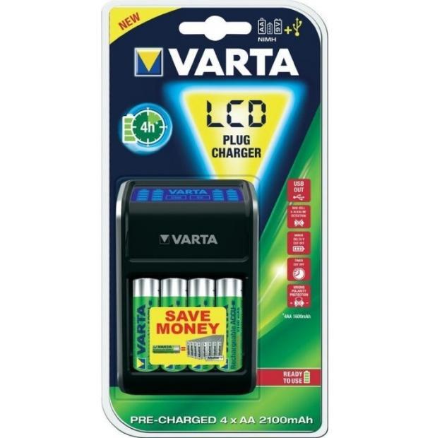 Комплект VARTA LCD Plug Charger + R2U Ni-MH AA 2100 mAh 4 шт