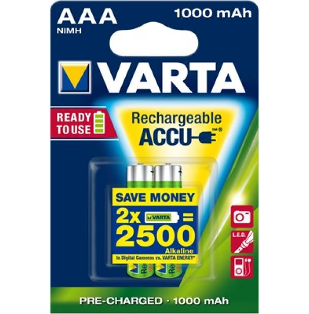 Аккумулятор VARTA R2U Ready To Use Ni-MH AAA 1000 mAh 2 шт
