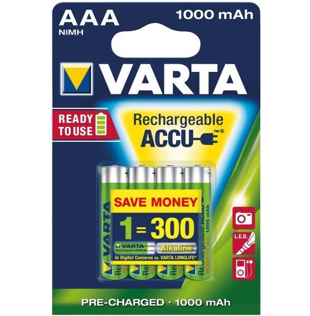 Аккумулятор VARTA R2U Ready To Use Ni-MH AAA 1000 mAh 4 шт