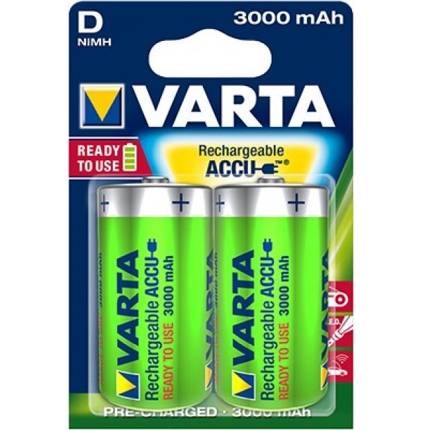 Аккумулятор VARTA R2U Ready To Use Ni-MH D 3000 mAh 2 шт