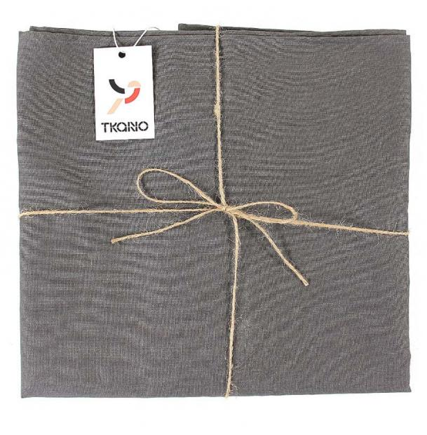 Скатерть на стол Tkano из Умягченного Льна с Декоративной Обработкой Dark Grey