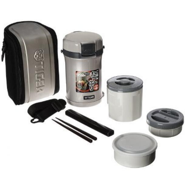 Термос для еды с контейнерами Tiger Lunch Box 1.2L LWU-B Warm Silver