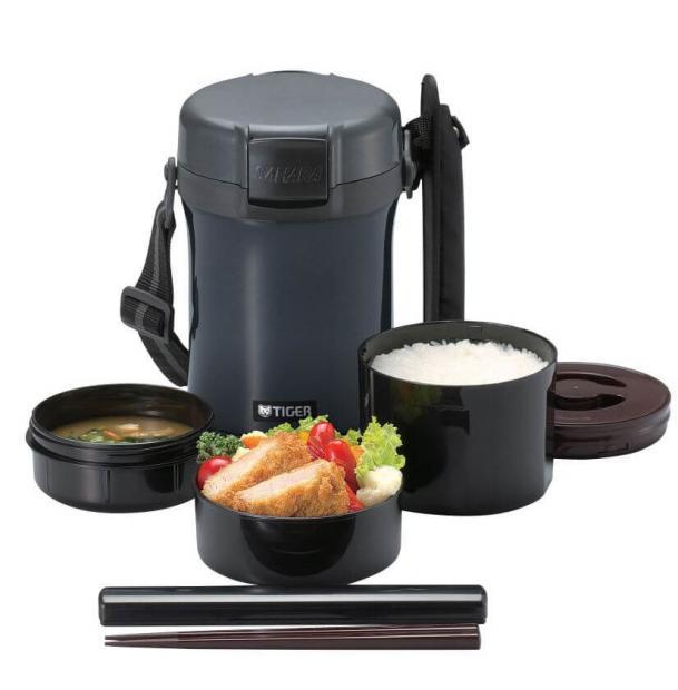 Термос для еды с контейнерами Tiger Lunch Box 1.4L LWU-A Charcoal Gray