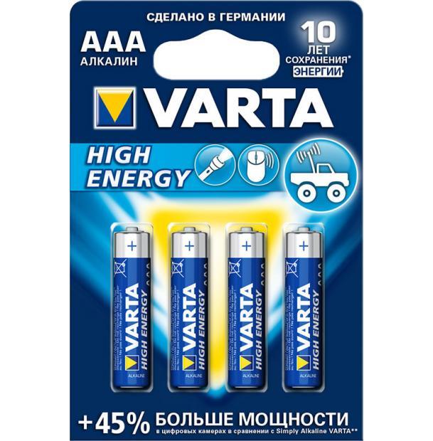 Батарейка щелочная VARTA High Energy Alkaline AAA 4 шт
