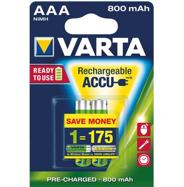 Аккумулятор VARTA R2U Ready To Use Ni-MH AAA 800 mAh 2 шт